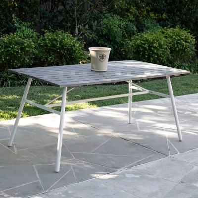 4-Person Francyne Indoor/Outdoor Rectangular Dining Table Gray and White - Aiden Lane