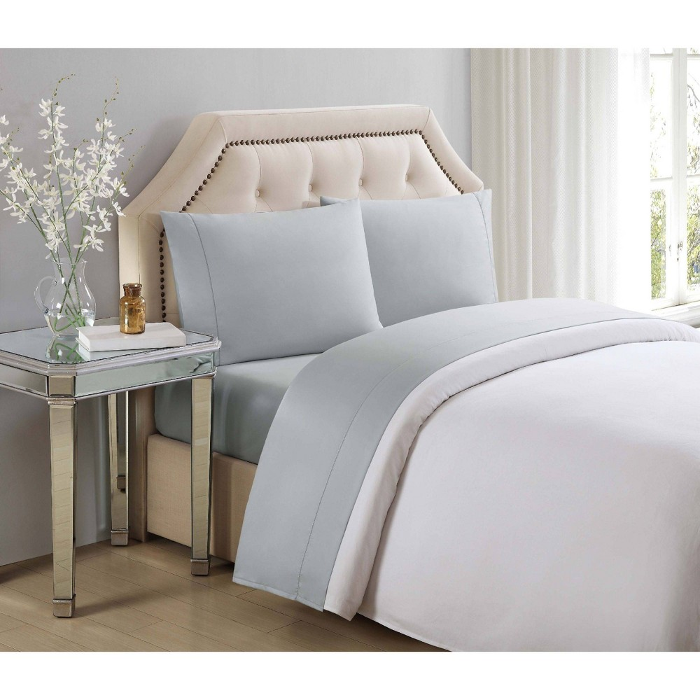King 610 Thread Count Solid Cotton Sheet Set Gray - Charisma