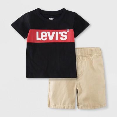 Levi's® Baby Boys' Box Tab Short Sleeve Top & Bottom Set - Black 3M