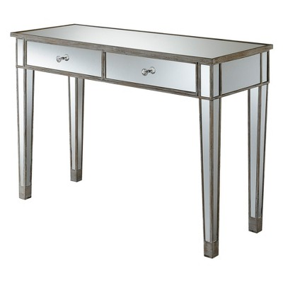 Gold Coast Mirrored Desk Weathered White/Mirror - Breighton Home