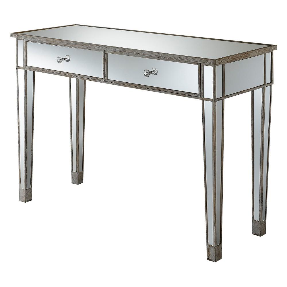 "Image of ""30"""" Gold Coast Mirrored Desk Vanity Weathered White - Johar Furniture"""