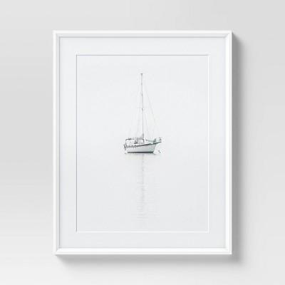 "24"" x 30"" Single Sailboat Framed Wall Art Black/White - Threshold™"