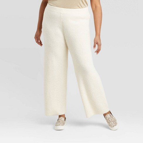 Women's Plus Size Wide Leg Ankle Length Sweater Pants - A New Day™ Cream 4X - image 1 of 3