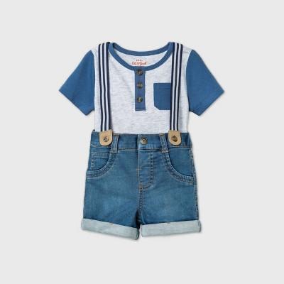 Baby Boys' Denim Shorts Suspender Top & Bottom Set - Cat & Jack™ Heather Gray 6-9M