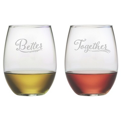 Susquehanna Glass 2pc Better Together Stemless Wine Glasses