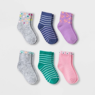 Toddler Girls' 6pk Star Critter Socks - Cat & Jack™