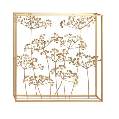 "28"" x 28"" Modern Branch and Leaves Iron Wall Decor - Olivia & May"