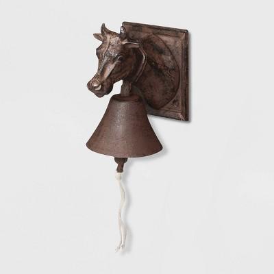 """7"""" Cast Iron Cow Doorbell Brown - Esschert Design"""