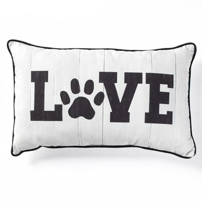 """Lakeside Pet Lover Decorative Throw 20"""" x 12"""" Pillow with Paw Print Letter O"""