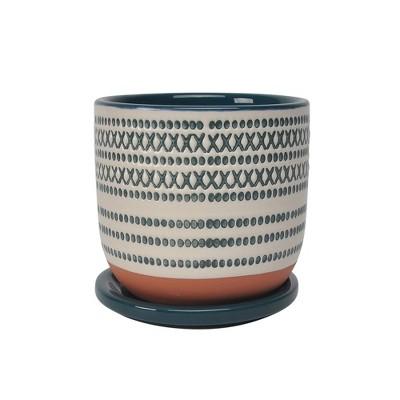 "5"" Ceramic Planter with Saucer Green - Sagebrook Home"