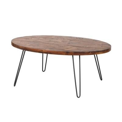 "44"" Hudson Oval Coffee Table Dark Brown/Black - Summerland Home"