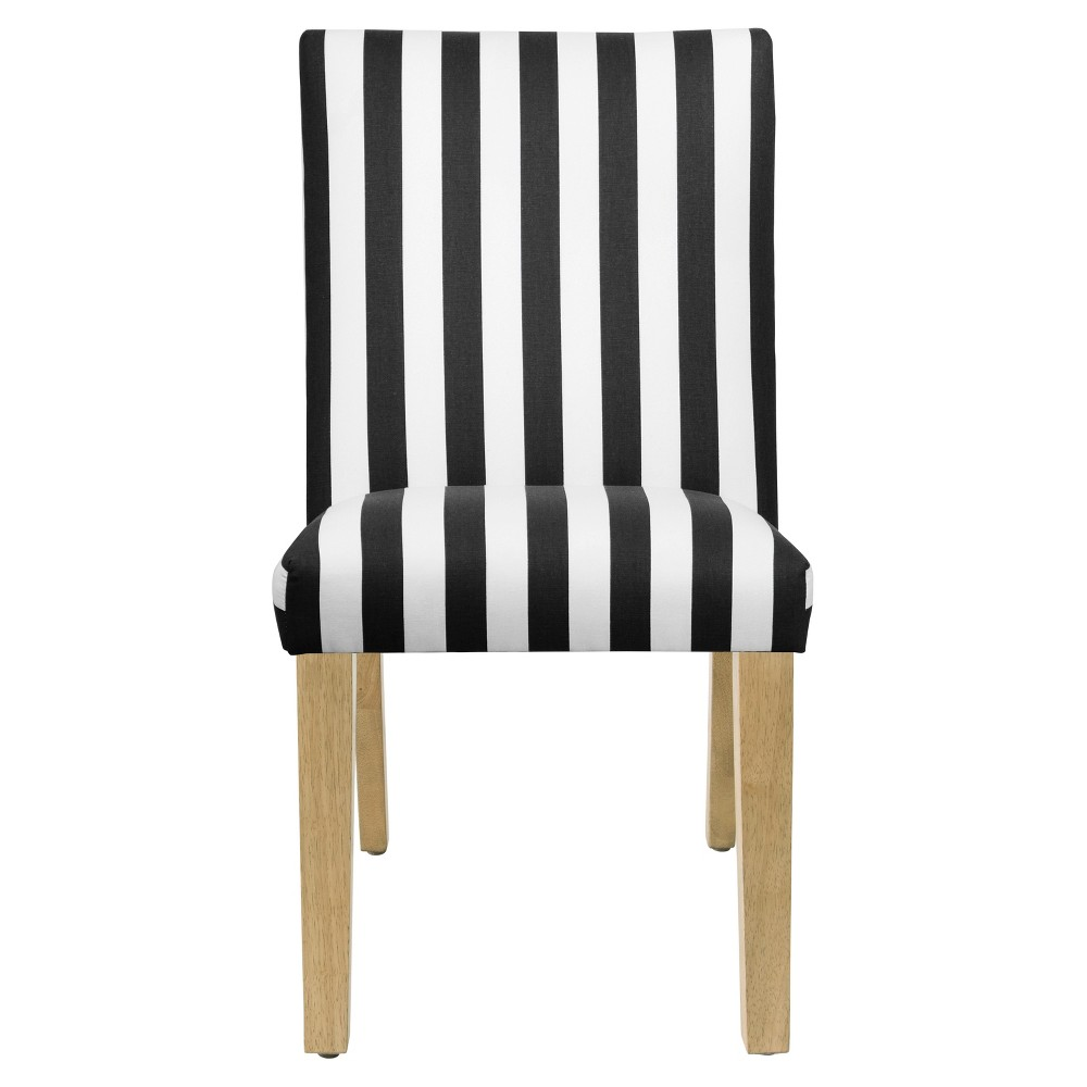 Parsons Dining Chair Canopy Stripe Black and White with Natural Legs - Threshold