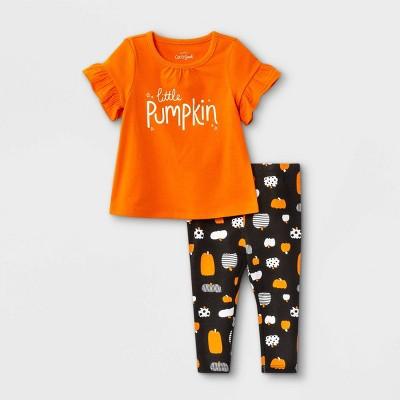 Baby Girls' 2pc Pumpkin Jersey Short Sleeve Top & Bottom Set - Cat & Jack™ Orange 12M