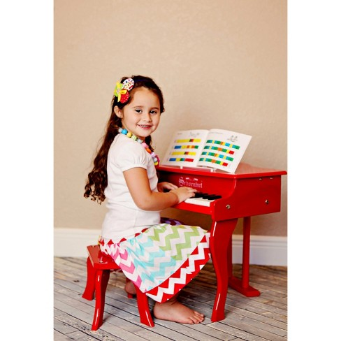 Free Shipping NEW Schoenhut 30 Key Fancy Baby Grand With Bench RED