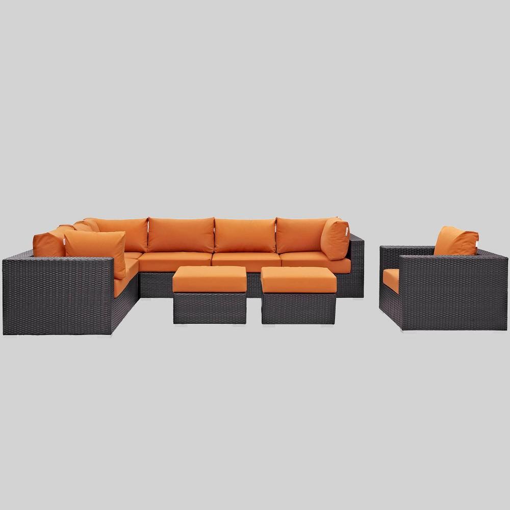 Convene 9pc Outdoor Patio Sectional Set - Orange - Modway