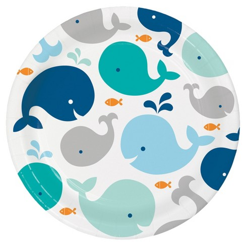 """Blue Baby Whale 9"""" Paper Plates - 8ct - image 1 of 2"""