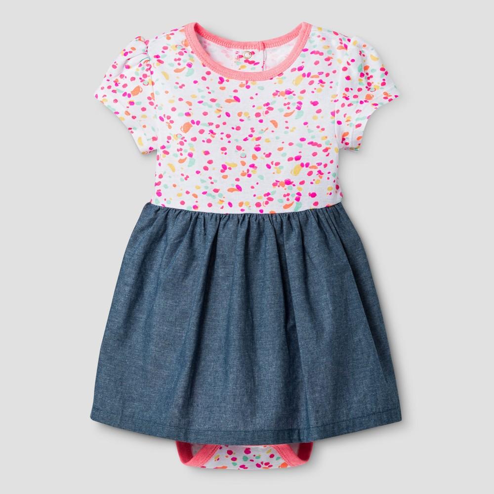 Oh Joy 174 Baby Girls Dot Chambray Bodysuit Sun Dress Coral 24m