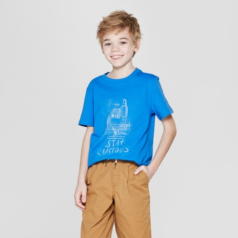 Boys' Stay Curious Short Sleeve Graphic T-Shirt - Cat & Jack™ Blue - image 1 of 3