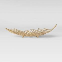 "24.4"" x 7.4"" Brass Palm Leaf Tray Gold - Threshold™"