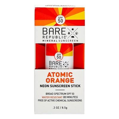 Bare Republic Mineral Sunscreen Neon Stick Atomic Orange - SPF 50 -  0.3oz