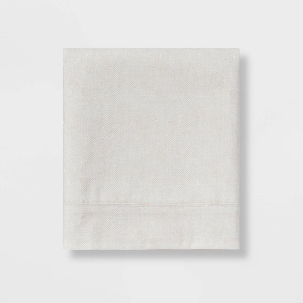 King 300 Thread Count Herringbone Ultra Soft Flat Sheet Tan Threshold 8482