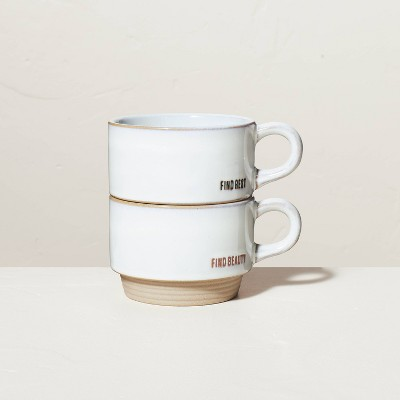 Find Beauty & Find Rest 10oz Stackable Stoneware Mug Set - Hearth & Hand™ with Magnolia