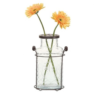 "Glass Vase with Metal Flower Lid (10.5"") - 3R Studios"