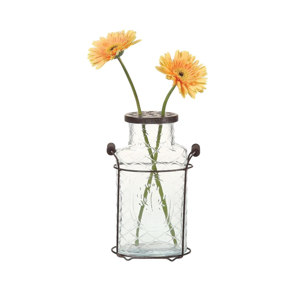 Glass Vase with Metal Flower Lid (10.5) - 3R Studios, Clear