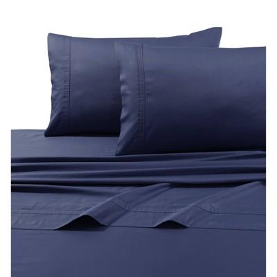 Queen 500 Thread Count Oversized Flat Sheet Midnight Blue - Tribeca Living