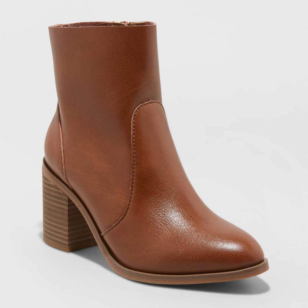 Women 39 S Cleo Heeled Ankle Bootie Universal Thread 8482 Cognac 9 5