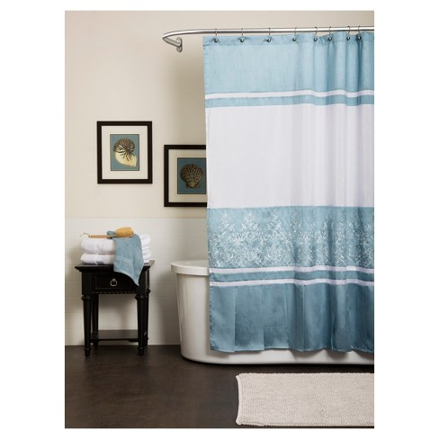 Charlotte Geometric Shower Curtain Blue - Lush Decor® - image 1 of 1