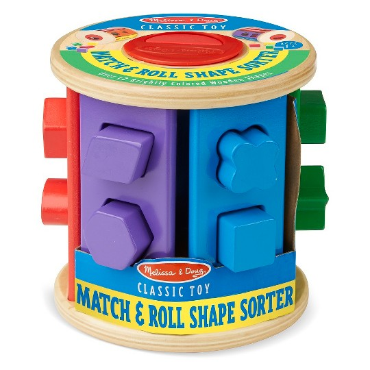 Melissa & Doug Match and Roll Shape Sorter - Classic Wooden Toy image number null