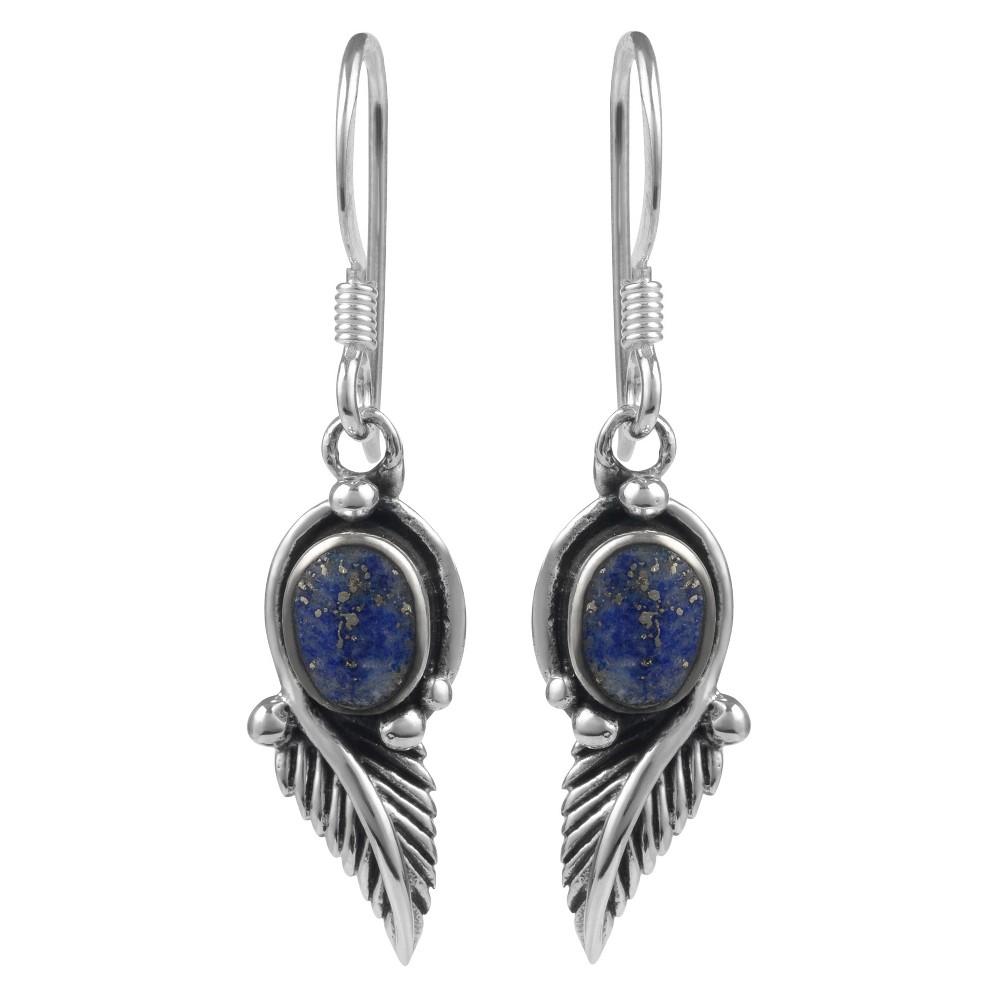 1/5 CT. T.W. Oval-cut Lapis Lazuli Bezel Set Dangle Earrings in Sterling Silver - Blue, Girl's
