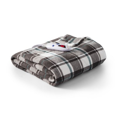 Microplush Electric Plaid Throw (62 x50 )Gray & Teal - Biddeford Blankets