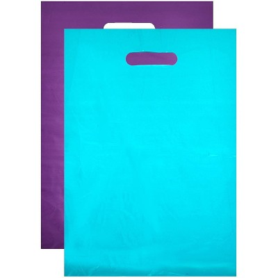 Okuna Outpost 100-Pack Plastic Shopping Bags for Merchandise with Handle (Blue, Purple, 12 x 15 in)