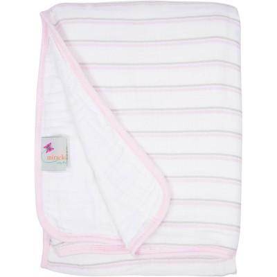 MiracleWare Muslin Baby Blanket Pink Stripe