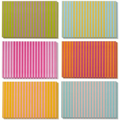 """48 All Occasion Blank Greeting Card Bulk Box Set 6 Colorful Striped Design 4""""x6"""""""