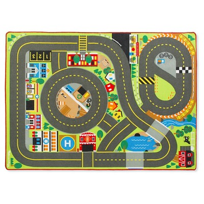 Melissa & Doug® Jumbo Roadway Activity Rug With 4 Wooden Traffic Signs (79 x 58 inches)