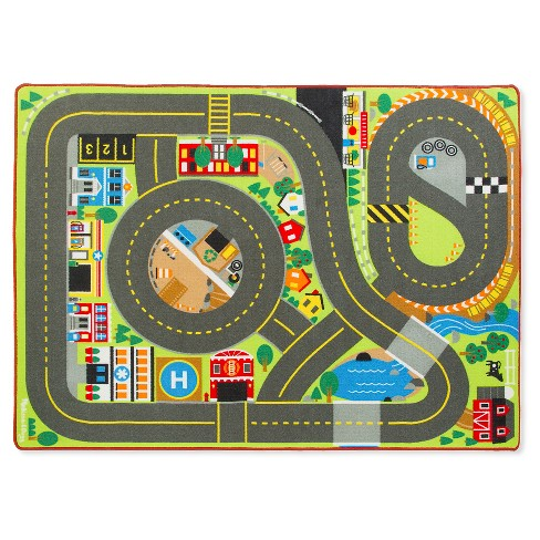 Melissa Doug Jumbo Roadway Activity Rug With 4 Wooden Traffic Signs 79 X 58 Inches