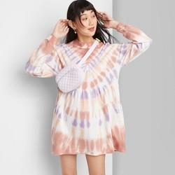 Women's Long Sleeve Mock Turtleneck Tie-Dye Knit Dress - Wild Fable™ Peach/Navy/Brown