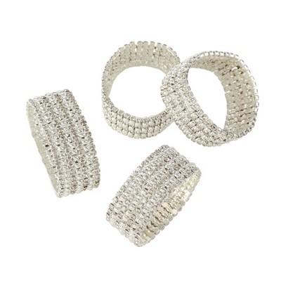 Sliver Glass Stone Jeweled Napkin Ring Set of 4 - Saro Lifestyle