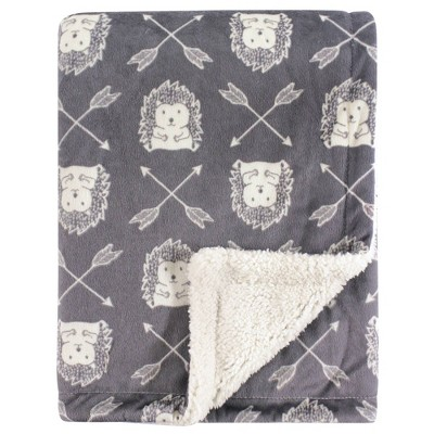 Hudson Baby Unisex Baby Plush Blanket with Sherpa Back Hedgehog - One Size