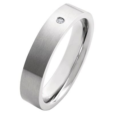 Men's Crucible 0.02 CT. T.W. Round Cut Diamond Stud Bezel Set Ring in Titanium (H-I-SI2)