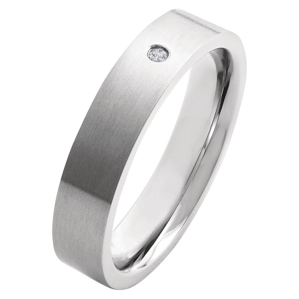 Men's Crucible 0.02 CT. T.W. Round Cut Diamond Stud Bezel Set Ring in Titanium (H-I-SI2), Size: 8, Silver