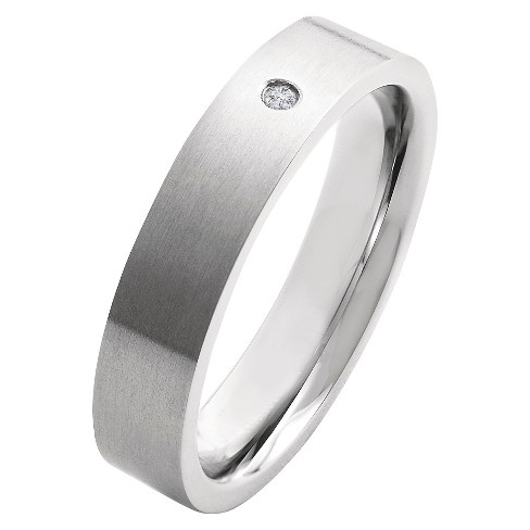 Men's Crucible 0.02 CT. T.W. Round Cut Diamond Stud Bezel Set Ring in Titanium (H-I-SI2) - image 1 of 5