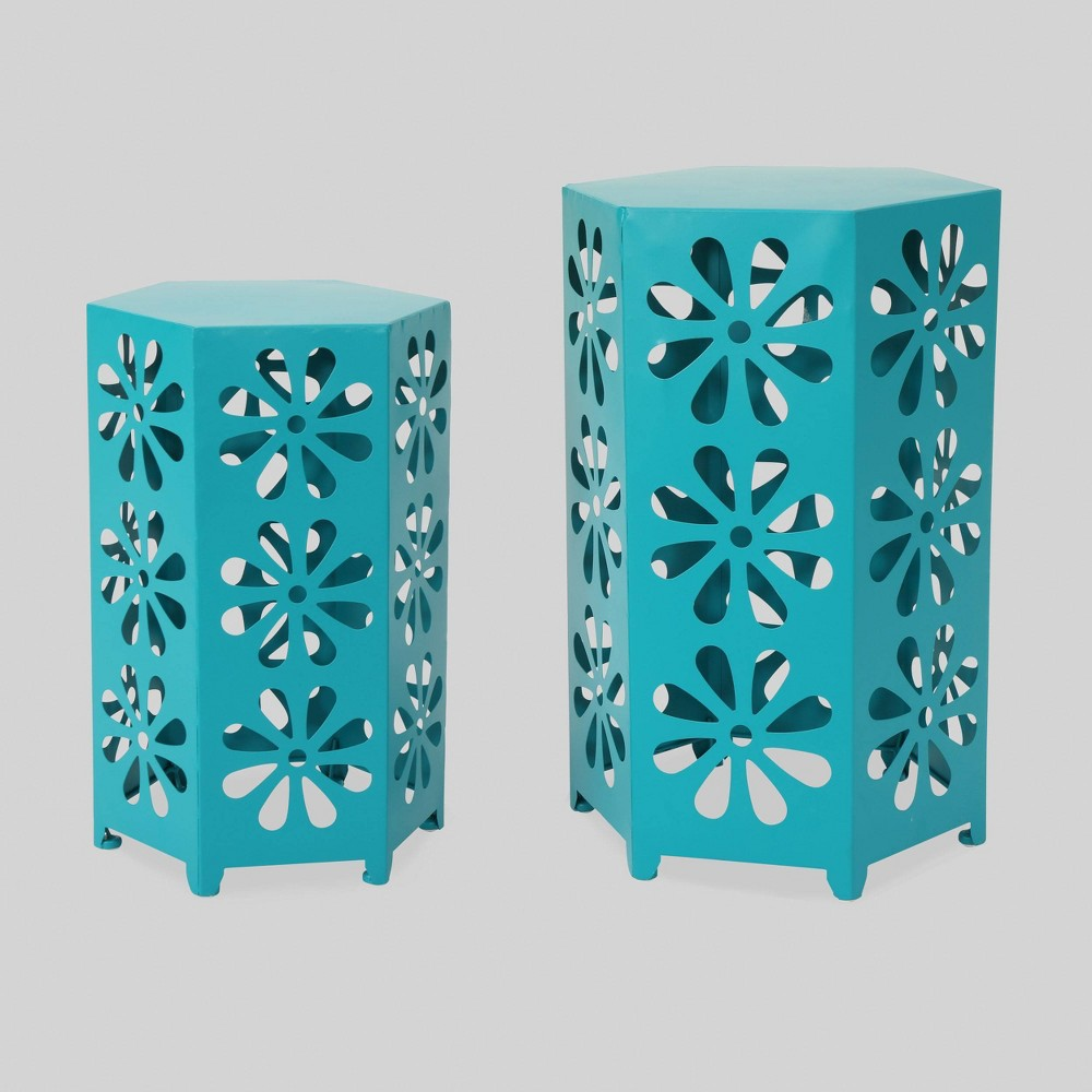 Dandelion 2pc Floral Outdoor Patio Iron Side Table Set - Matte Teal - Christopher Knight Home