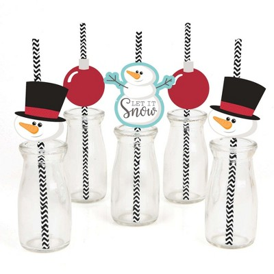 Big Dot of Happiness Let It Snow Paper Straw Decor - Snowman - Holiday & Christmas Striped Decorative Straws - Set of 24