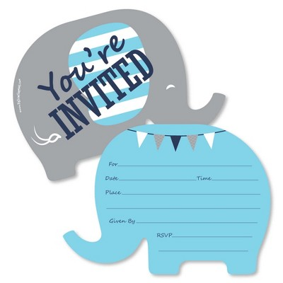 Big Dot of Happiness Blue Elephant - Shaped Fill-in Invitations - Boy Baby Shower or Birthday Party Invitation Cards with Envelopes - Set of 12