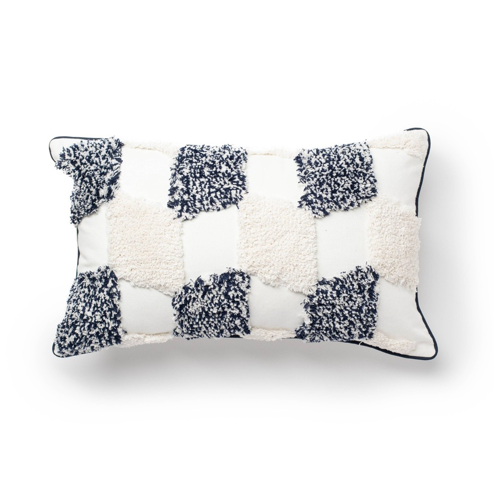 "Image of ""12""""x20"""" Pisa Cut Embroidery Diamonds Decorative Throw Pillow Navy/White - SureFit"""