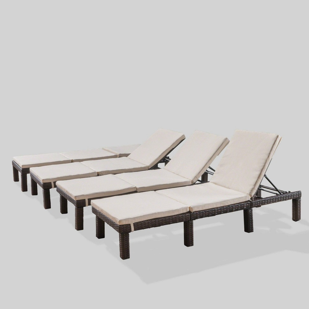 Jamaica 4pk Wicker Chaise Lounges - Off-White (Beige) - Christopher Knight Home